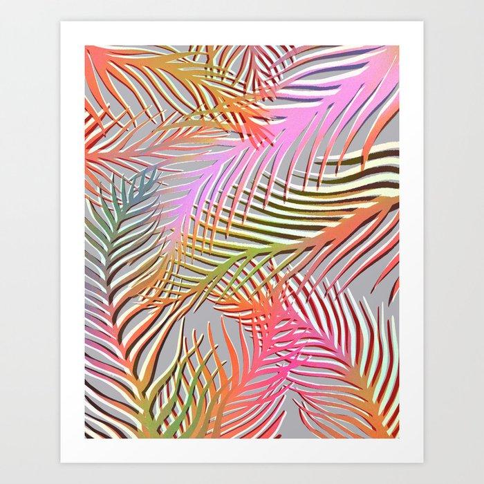 Palm Leaves Pattern - Pink, Gray, Orange Art Print