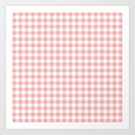 Lush Blush Pink and White Gingham Check Art Print