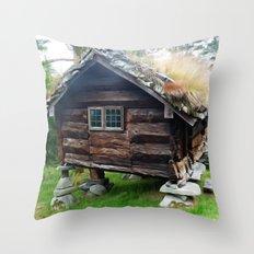 Old Norwegian House  Throw Pillow