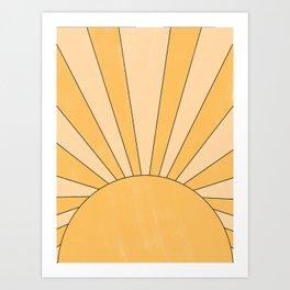 yellow abstract sunrise Art Print