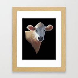 Brown Cow Portrait on Black, Oil Pastel Painting Framed Art Print