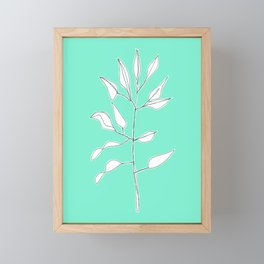 One line plant with background Framed Mini Art Print