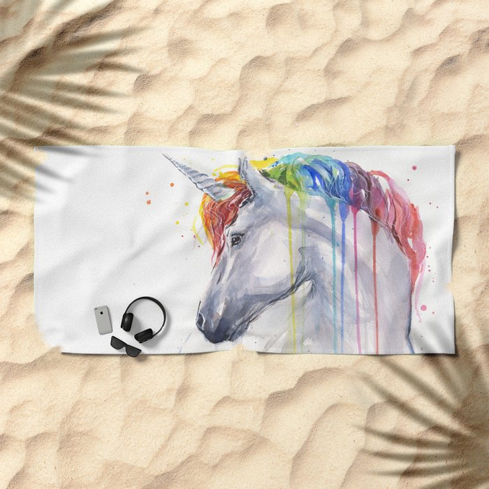 Rainbow Unicorn Watercolor Animal Magical Whimsical Animals Beach Towel