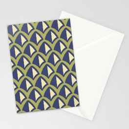Classic Hollywood Regency Pyramid Pattern 240 Beige Blue and Green Stationery Cards