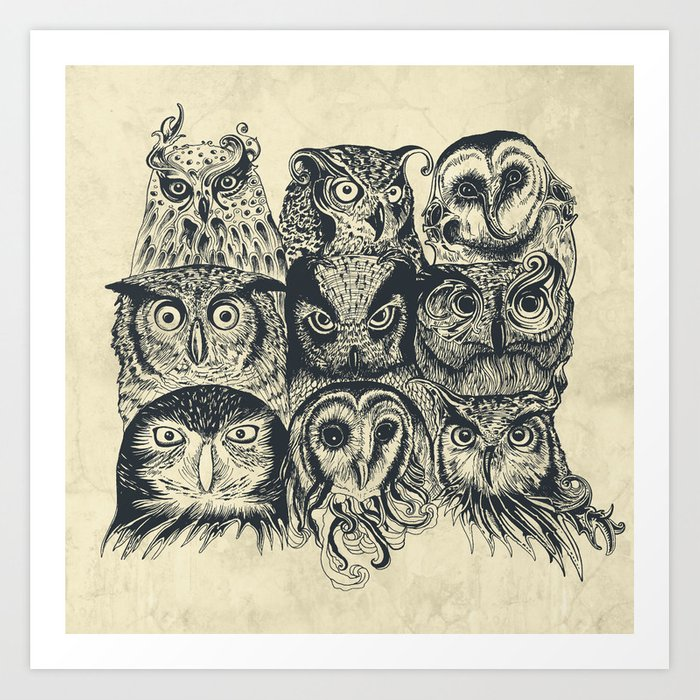 Nine Owls Art Print