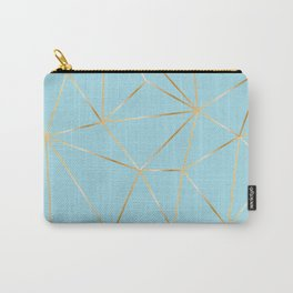 blue pastel and gold polygon Carry-All Pouch