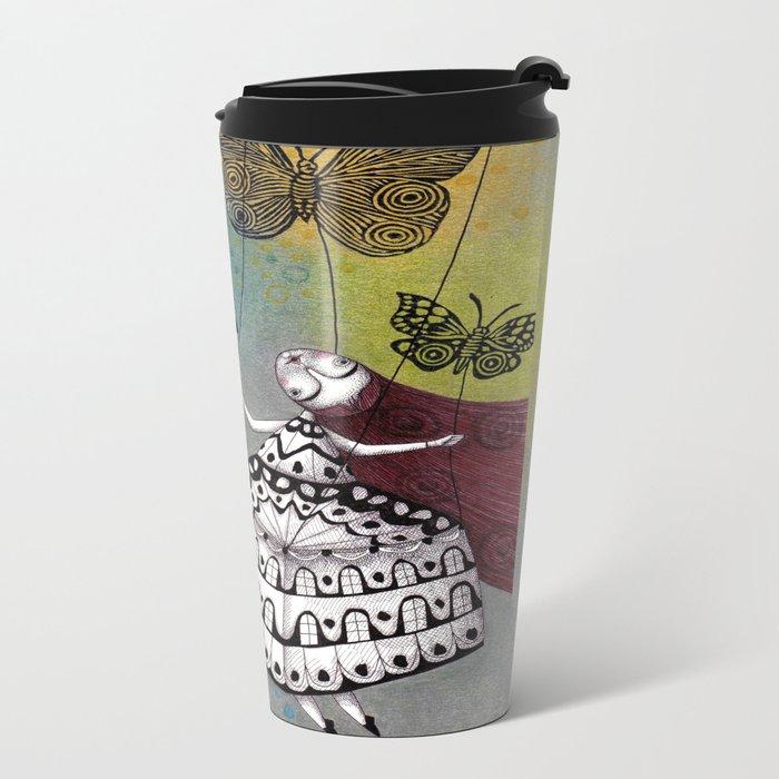 House of Butterflies Metal Travel Mug
