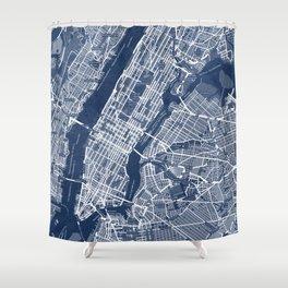 Classic Blue Manhattan Map, New York City Shower Curtain