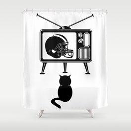 Cat Watching American Football Shower Curtain