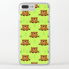 Adorable Groundhog Pattern Clear iPhone Case