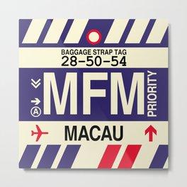 MFM Macau • Airport Code and Vintage Baggage Tag Design Metal Print