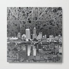 indianapolis city skyline black and white Metal Print
