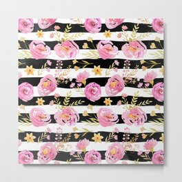 Delicate Poppy Pattern On Stripes 2 Metal Print