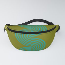 groovy minimalist pattern aqua waves on olive Fanny Pack