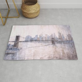Brooklyn Bridge and skyscrapers of Manhattan at sunset in New York City- New York, USA.  Watercolor Rug