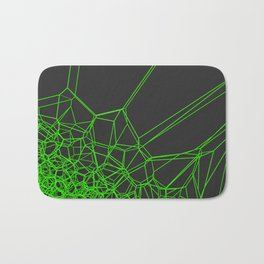 Green voronoi lattice on black background Bath Mat