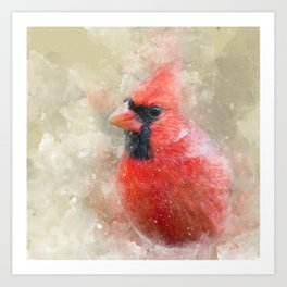Northern Cardinal Watercolor Splatter Art Print