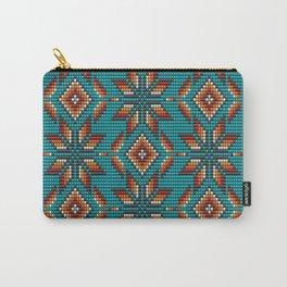 Modern colorful beaded boho aztec kilim pattern on teal Tasche