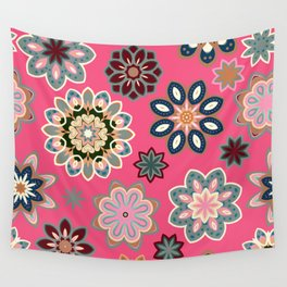 Flower retro pattern in vector. Blue gray flowers on pink background. Wall Tapestry