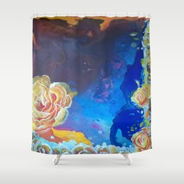 Mad Lucy's Golden Roses. Yellow Roses and Galaxy Blue. Shower Curtain