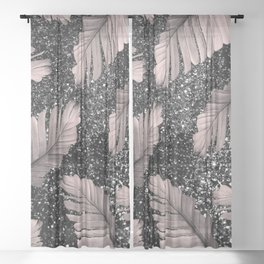 Banana Leaves Glitter Glam #4 #shiny #tropical #decor #art #society6 Sheer Curtain