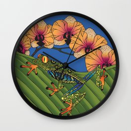 Tree Frog with Orchids Wall Clock