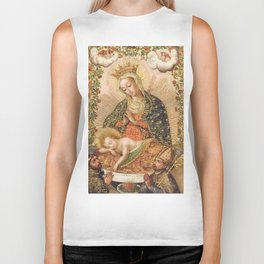 The Virgin Adoring the Christ Child with Two Saints Biker Tank