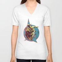 spiritual V-neck T-shirts featuring Spiritual Tiger by Rene Alberto