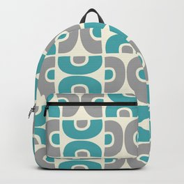 Funky Mid Century Modern Pattern 554 Gray and Turquoise Backpack