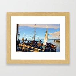 Dhow Boats Stone Town Port Zanzibar Framed Art Print