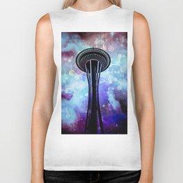 Space Needle - Seattle Stars Clouds Fog Biker Tank