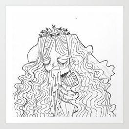 Zombie Bride Illustration Art Print