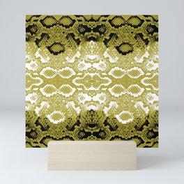 Snake skin scales texture. Seamless pattern black yellow gold white background. simple ornament Mini Art Print