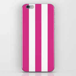 Deep cerise pink - solid color - white vertical lines pattern iPhone Skin