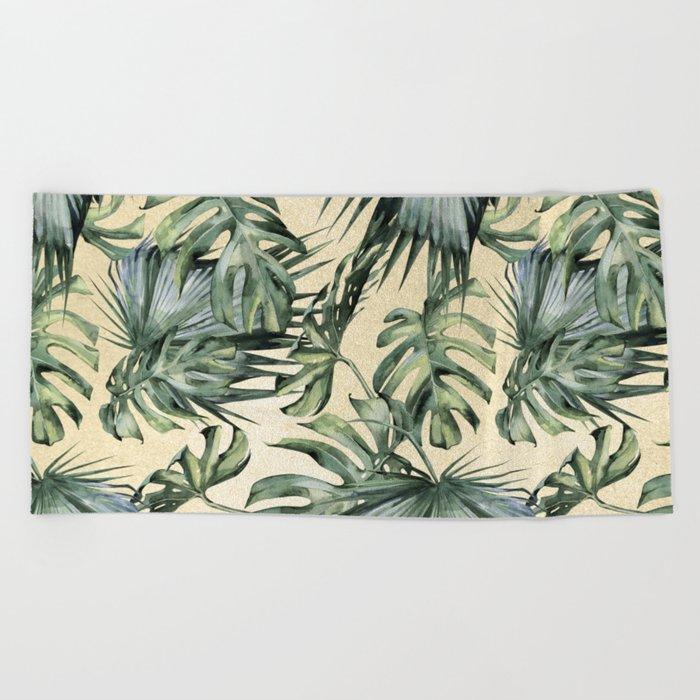 Palm Leaves Classic Linen Beach Towel
