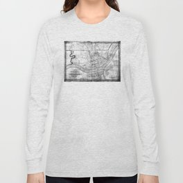 Vintage Map of Cincinnati Ohio (1838) BW Long Sleeve T-shirt