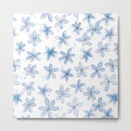 Floral Pattern #6 | Light Blue Metal Print