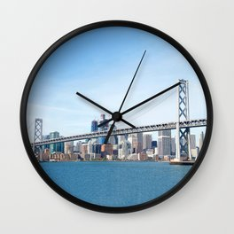 Bay Bridge view with San Francisco in the Background Wall Clock