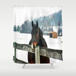 Thoughtful Horse Shower Curtain