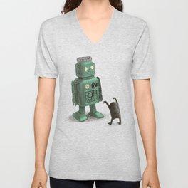 Robot Vs Alien Unisex V-Neck