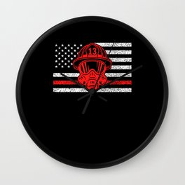 American Fireman Firefighting Motif Wall Clock