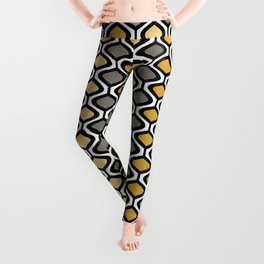 Mid Century Modern Rounded Diamond Pattern // Black, Gray, Gold, Butter Yellow // Version 1 Leggings