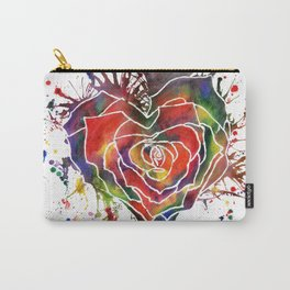 Rainbow Rose Love Heart Carry-All Pouch