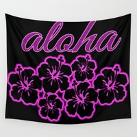 aloha Wall Tapestries featuring ALoha  by Lonica Photography & Poly Designs