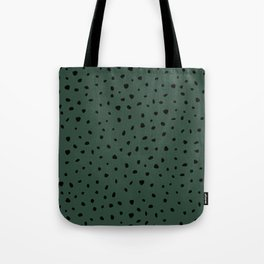 Cheetah Spots animal print minimal wild cat speckles and dots Forest Green Tote Bag