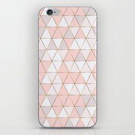Pink geometrc trianges print iPhone Skin