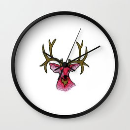 Oh Deer: Pink and Gold Deer Illustration Wall Clock