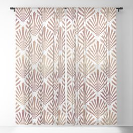 Rose-gold geometric art-deco pattern Sheer Curtain