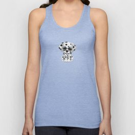 Dalmatian Puppy Wearing Reading Glasses on Blue Unisex Tank Top