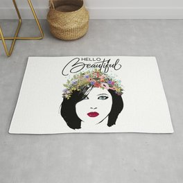 Hello Beautiful Woman and Flower Crown Rug